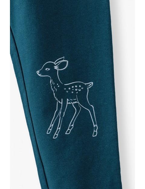 Granatowe legginsy dziewczęce z jelonkiem