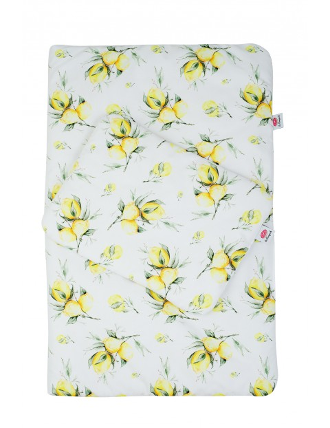 Pościel kołdra i poduszka z bawełny- Cytryny z wypełnieniem antyalergicznym-135x100cm