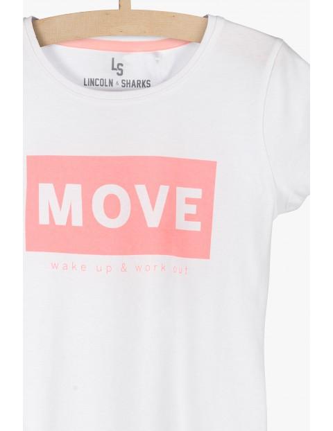 Biały t-shirt z napisem MOVE