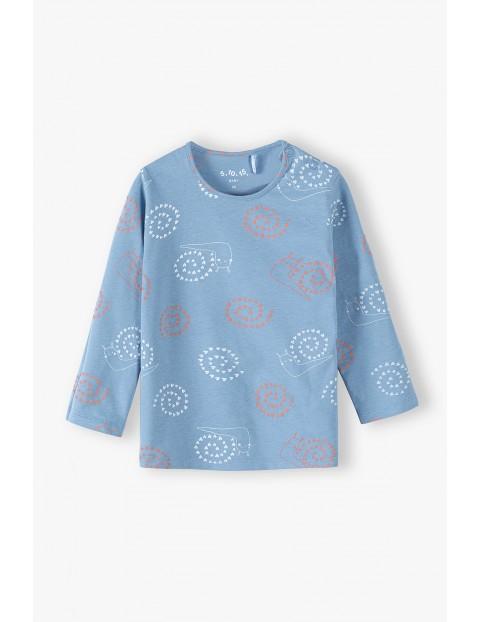 Niebieska bluzka z długim rękawem w ślimaki