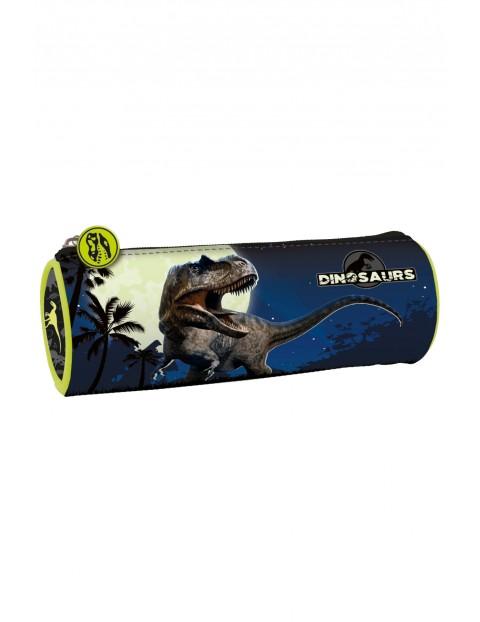 Piórnik tuba z dinozaurem, granatowy