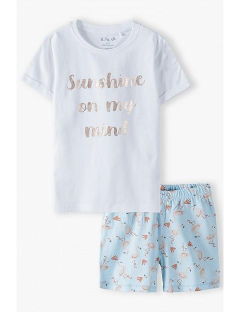 Bawełniana  pidżama dziewczęca z flamingami