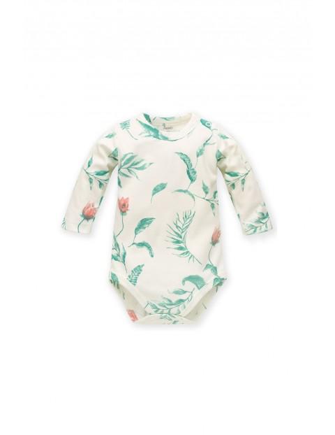 Body niemowlęce z długim rękawem kremowe