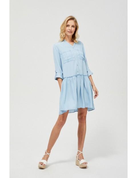 Koszulowa sukienka damska w kolorze niebieskim