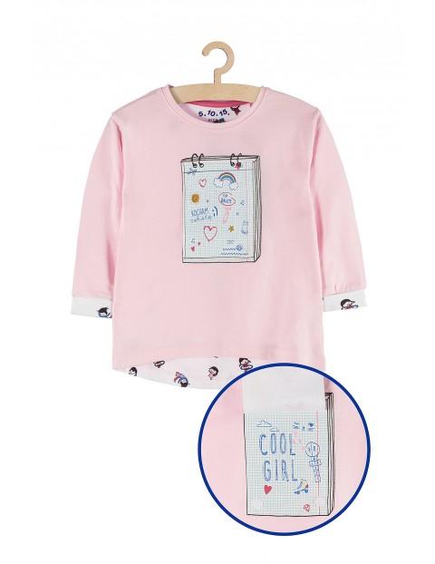 Bluzka dziewczęca różowa z aplikacją 3D rękaw 7/8