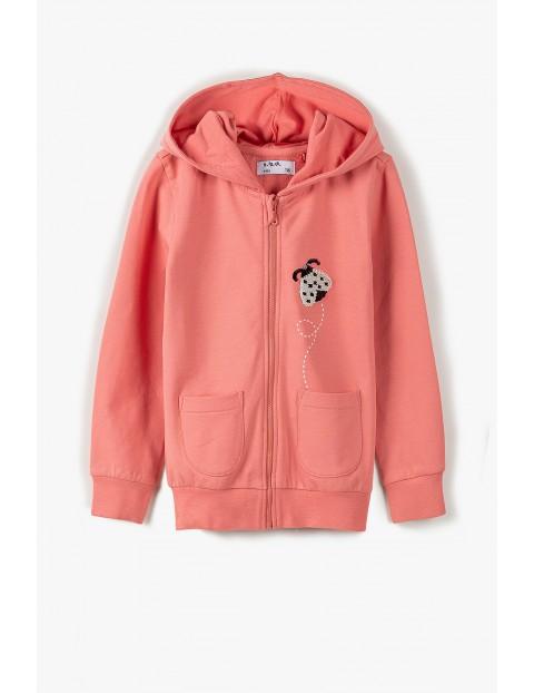 Bluza dresowa dziewczęca z biedronką - różowa