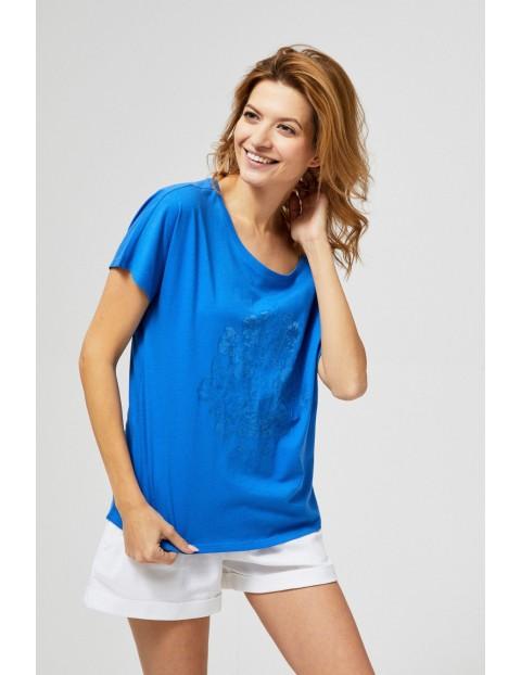 T-shirt damski w kolorze niebieskim