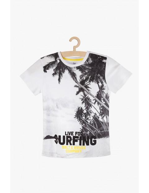 T-Shirt chłopięcy biały z palmami- Surfing