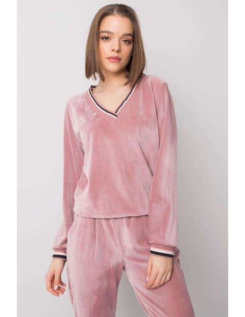 RUE PARIS Komplet dresowy damski - bluza i spodnie dresowe - różowe