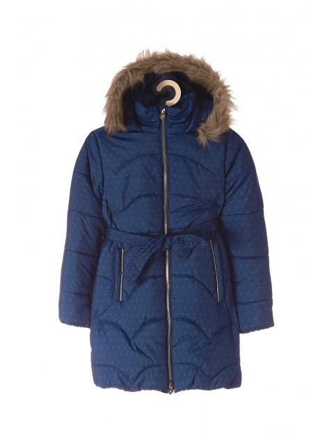 Płaszcz zimowy dla dziewczynki- granatowy w kropki