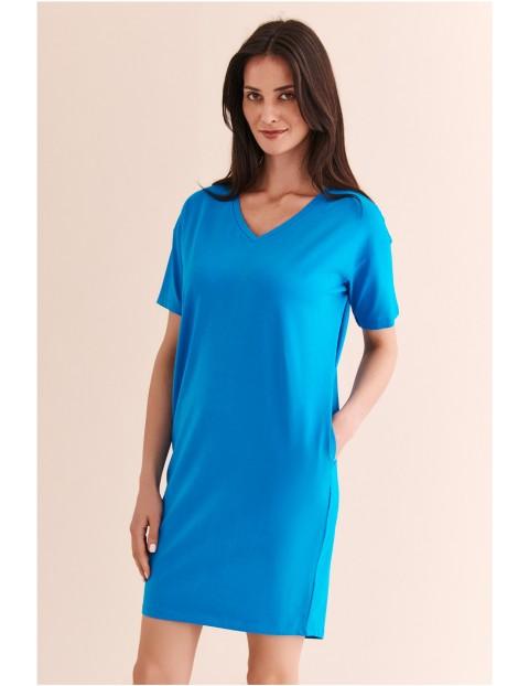 Sukienka niebieska luźna z krótkim rękawem