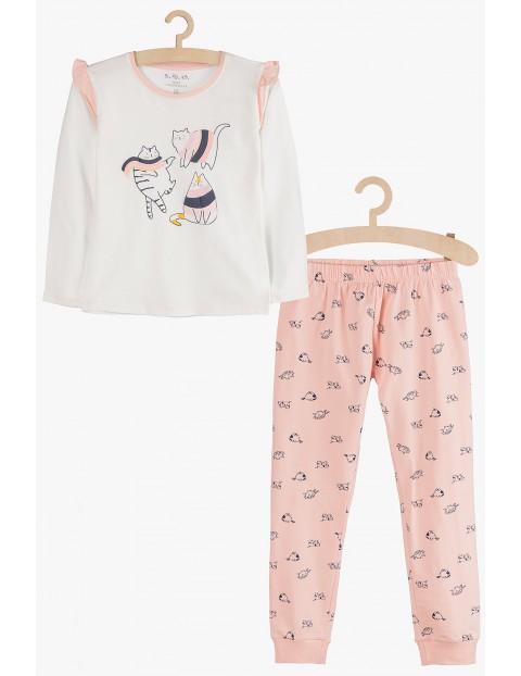 Dzianinowa piżamka dla dziewczynki- koty