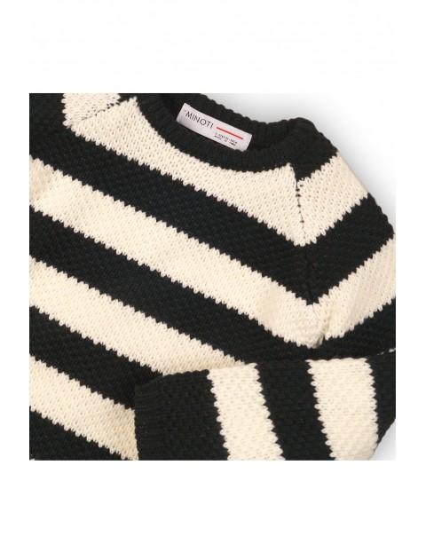Sweter  niemowlęcy w biało-czarne paski