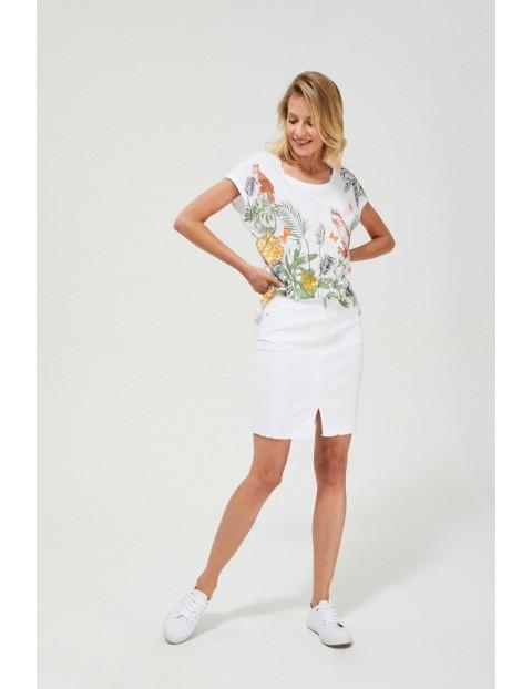 Spódnica damska ołówkowa z rozcięciem biała