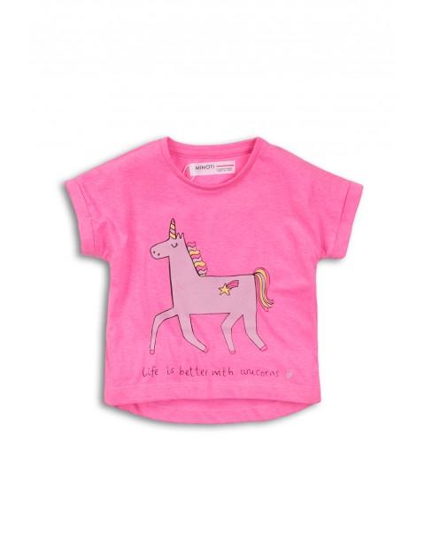 T-shirt dziewczęcy różowy z jednorożcem