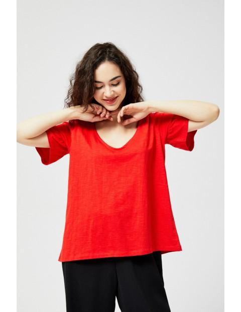 Koszulka damska bawełniana z wiązaniem na plecach- czerwona
