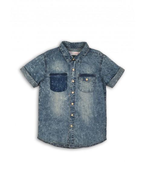 Koszula jeansowa marmurkowa z krótkim rękawem
