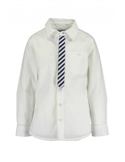 Koszula chłopięca biała z nadrukiem krawata w paski