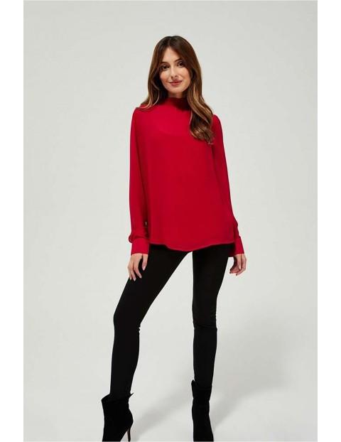 Bluzka damska czerwona ze stójką