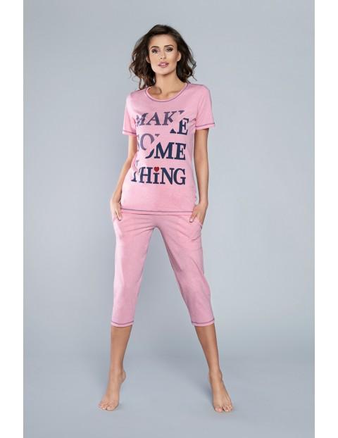 Dwuczęściowa piżama damska w kolorze różowym