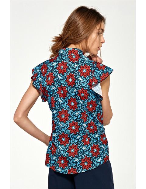 Bluzka damska z krótkim rękawem i falbanami w kwiaty