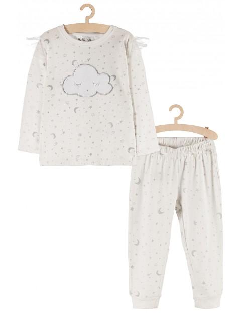 Piżamka dla dziewczynki- biała w srebrne gwiazdki