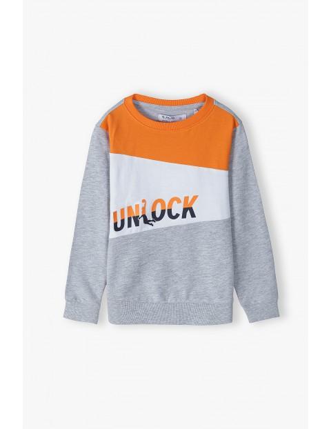 Bluza dresowa chłopięca z napisem -Unlock