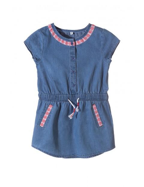 Sukienka dziewczęca jeansowa z krótkim rękawem