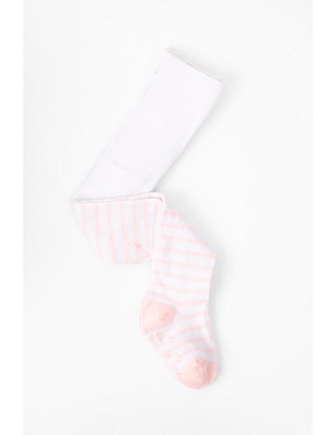 Rajstopy niemowlęce białe w różowe paski z ABSem