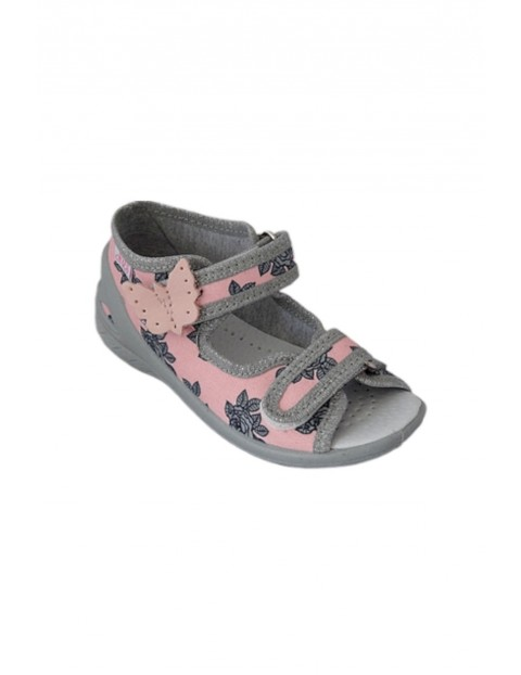 Sandałki dziewczęce różowe we kwiatki