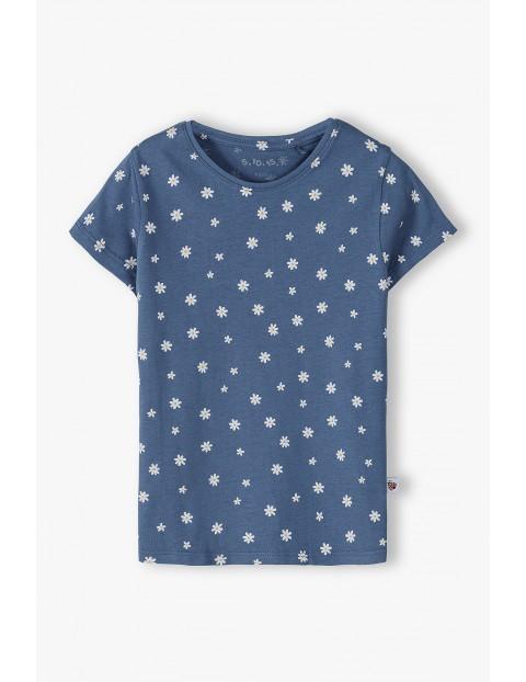 Bawełniany t-shirt dziewczęcy w stokrotki - niebieski