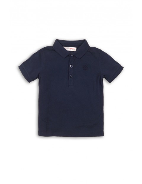 Granatowy t-shirt dla chłopca z kołnierzykiem