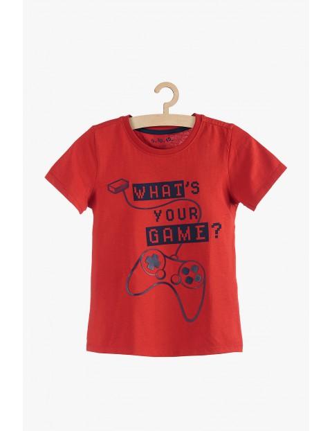 Czerwony t-shirt chłopięcy bawełniany