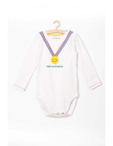 Body niemowlęce z długim rękawem i napisem Mały zwycięzca