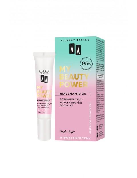 AA My Beauty Power Niacynamid 2% rozświetlający koncentrat-żel pod oczy 15 ml