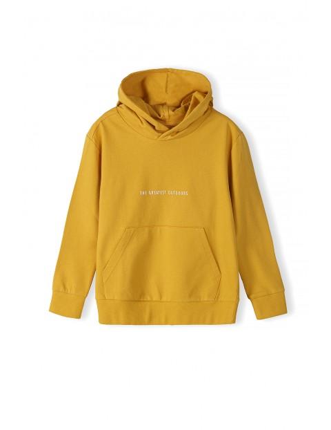 Bawełniana bluza chłopięca z kapturem - żółta