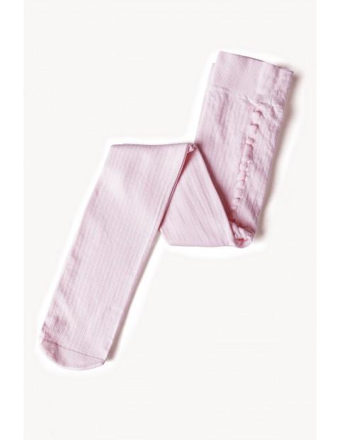 Rajstopy dziewczęce w prążki - różowe