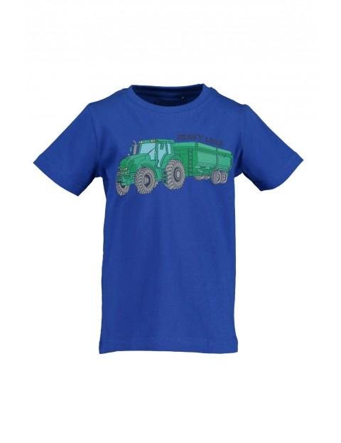 T-Shirt chłopięcy niebieski z traktorem