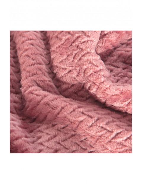 Koc w jodełkę - różowy - 200x220cm