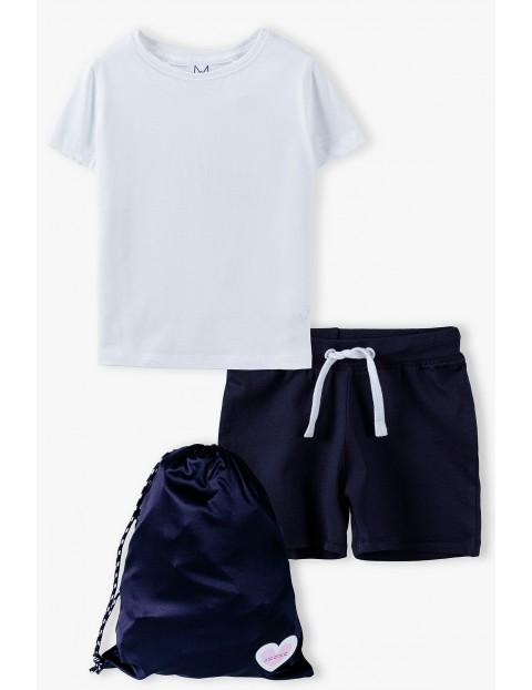 Komplet dziewczęcy - biały tshirt ,granatowe spodenki i worek