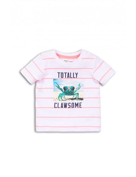 T-shirt niemowlęcy z krabem - biały