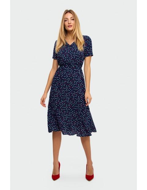 Wiskozowa sukienka z nadrukiem w kropki granatowa