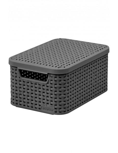 Koszyk z pokrywą szary - imitacja ratanu Curver - 29,1x19,8x14,2