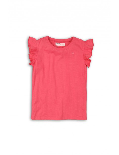Różowy t-shirt dla dziewczynki z falbanką przy rękawach