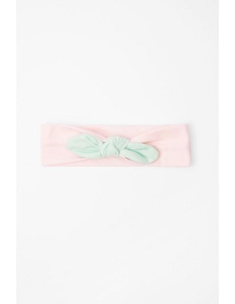 Opaska dzianinowa różowa z miętową kokardką