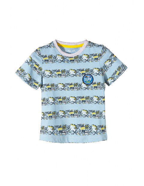 Bawełniany t-shirt dla chłopca- niebieski w paski