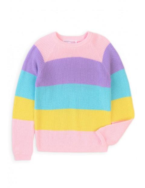 Bawełniany kolorowy sweter w paski