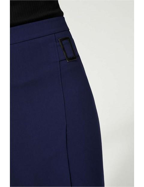Spódnica damska granatowa ołówkowa  z rozporkiem