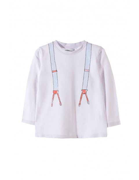 Bluzka dla chłopca bawełniana z imitacją szelek