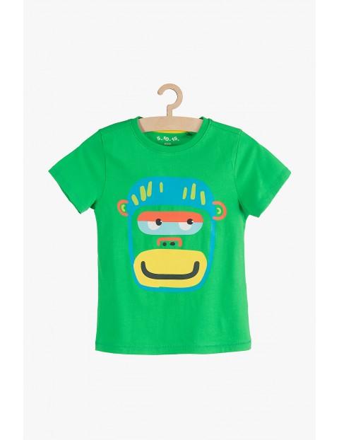 T-shirt chłopięcy zielony z małpką- 100% bawełna